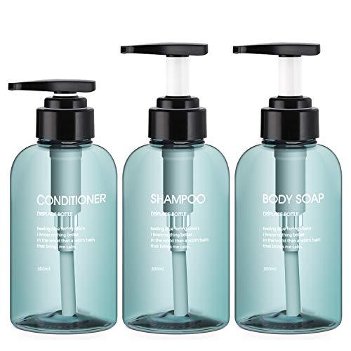 Segbeauty Botellas dispensadoras de 3 Piezas para baño, Botellas de Bomba rellenables 300ml para champú jabon líquido acondicionador Gel de Ducha Prensa dispensador de loción - Azul