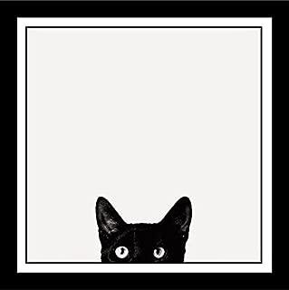 Buyartforless Work Framed Curiosity Cat by Jon Bertelli 11x11 Art Print Poster Wall Decor Black and White Photograph of Kitty Kitten Peeking