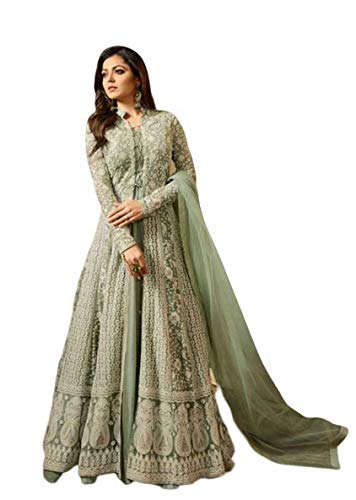 Miss Ethnik Women's Benglory Silk Ethnic Wear Semi Stitched Gown With Net Koti With Embroidery Work_ Green_Free Size