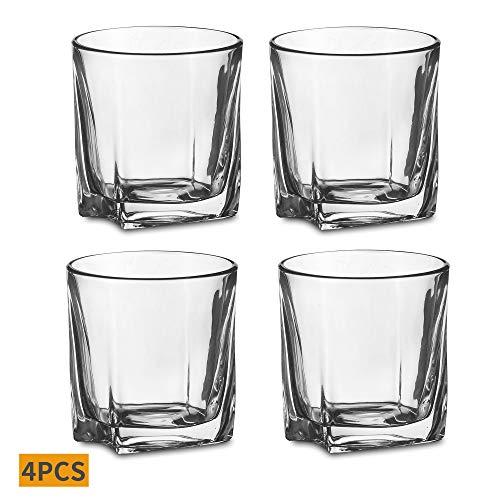 Amisglass 4er Set Whisky Gläser, Bleifrei Kristallglas, Bargläser-Set, Whiskey Glas, 295ml, Hochwertig, Perfect Serve
