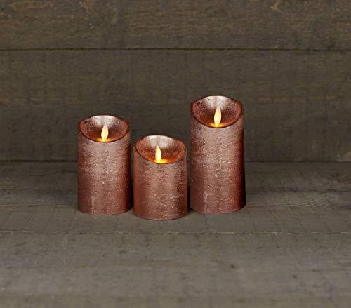 Coen Bakker 3er Set Kerze LED Echtwachskerze 10 cm + 12,5 cm + 15 cm Kerze Ø 7,5 cm viele Farben mit Timer flackender Docht Wachskerze Kerzen, Farbe:Kupfer
