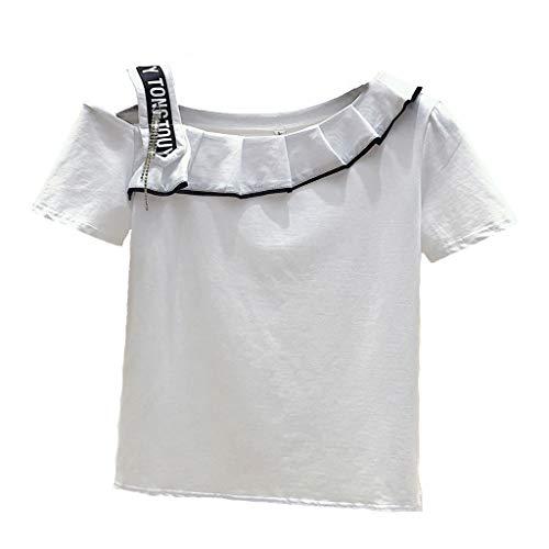 Dames kleding Off-the-shoulder veelzijdige t-shirt blouse 2019 zomer half-mouw mode slanke ruches solide korte mouw