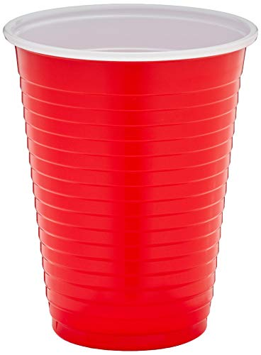 Amazon Brand - Solimo 18oz Disposable Plastic Party Cups, 200 Count, Red