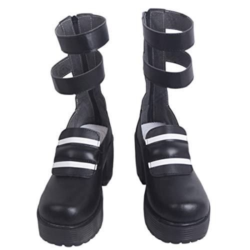 YKJ Anime Cosplay Schuhe Weihnachtsfest-Schuhe Frau Abendkleid-Partei Stiefel Schwarz-Starke Ferse Schuhe Customized,Women's shoes-38