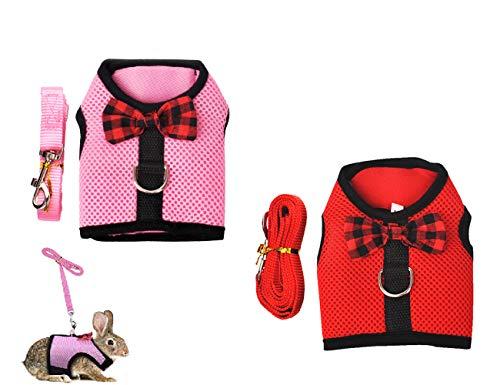 Tineer Kaninchen-Geschirr mit Leine Set - Soft Breathable Ineinander greifen Haustier Chest Harness Vest Walking für Kätzchen, Häschen, Hamster, Meerschweinchen, und andere Kleintiere (S, Pink + Rot)