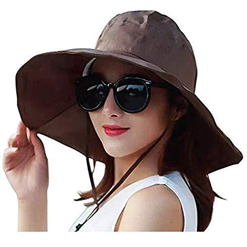 FENGDING Chapeau de Pluie de Femmes, Large Bord Sun de Protection Chapeau, Marron