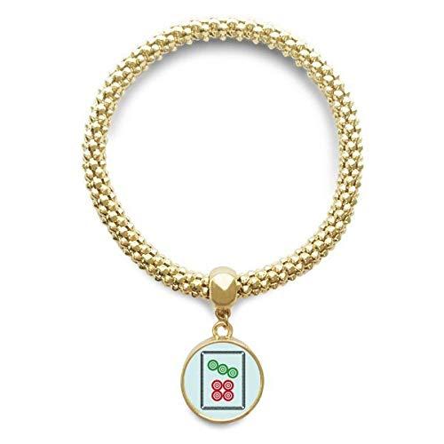 DIYthinker Damen Mahjong-Kreis-Punkte 7-Fliesen-Muster Goldene Armband Laufende Anhänger Schmuck-Kette