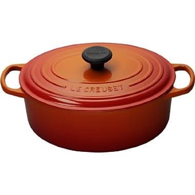 Le Creuset Signature Enameled Cast-Iron 9.5 Quart Oval French (Dutch) Oven, Flame