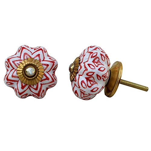 IndianShelf - Tiradores de puerta de cerámica hechos a mano con flores (4,44 cm), color rojo