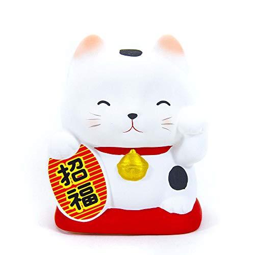 Maneki Neko - Hucha de arcilla, diseño de gato japonés de la suerte – Feng Shui – Fabricado en Japón (altura 10,5 cm) (ref. AS-031)