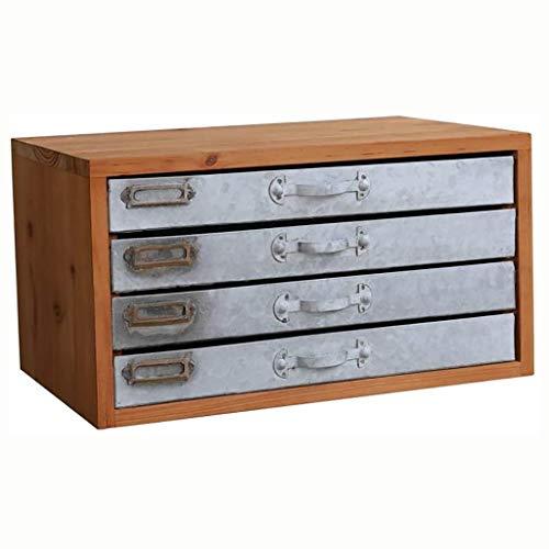 4 verdiepingen Bestand A4 Desktop houten kast oude ijzeren lade Data kabinet Bestand Opslag Kast Bestand Doos Kantoorbenodigdheden, Voor Hotel School Office Financiële 40.8x25.4x22cm