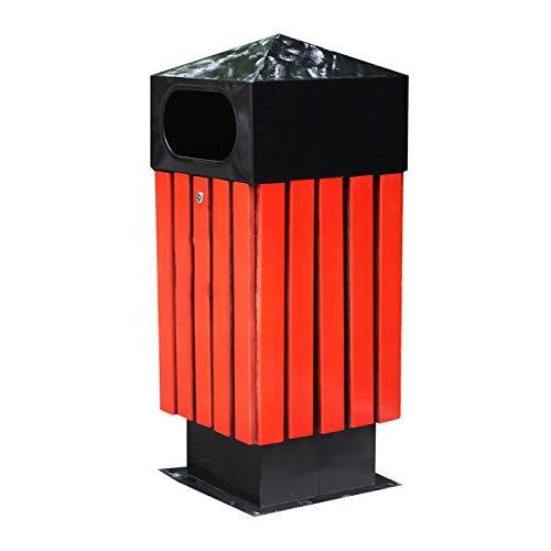 Grote Prullenbak Afvalmand Staal Hout Spire Prullenbak Buiten Inbouw Panel Vuilnisbak Creatieve Enkele Vat Commerciële Afvalbak voor School Park Street, Vuilnisbak voor buiten of commercieel gebruik