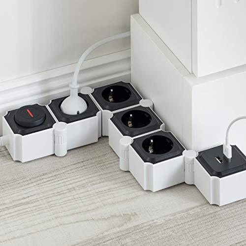 UCOMEN Power Strip, 4 Fach Steckdosenleiste, Steckdose mit 2 USB, Tischsteckdose mit Schalter, Mehrfachsteckdose mit überspannschutz, 3680W, Verformbar Würfel, Schwarz