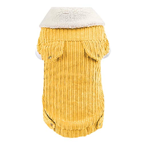 KariNao | Caldi Vestiti per Cani in Pelle di Agnello di Natale,Cappotto in Cotone Gatto a Due Gambe con Collo in Pelliccia Finta di Velluto a Coste Suocera,Costumi per Cane (M,Giallo)