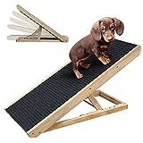 Rampe pour Chien Rampe pour Chat escalier pour Chien pour Le lit ou Le canapé échelle en Bois Pliable pour Chien Rampe pour Animaux avec Insert antidérapant,Réglable de 12 'à 24'