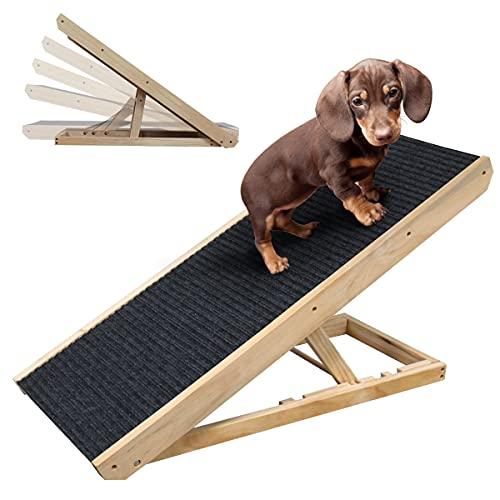 Rampa para Perros y Gatos Rampa Plegable con Forro Antideslizante Rampa para escaleras de Madera para Cama o Sofá Natural ,Ajustable de 12 'a 24'