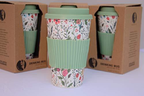 Tesson Bicchiere da caffè in bambù con coperchio, ecologico, con coperchio e impugnatura in silicone, riutilizzabile, 425 ml (fiori)