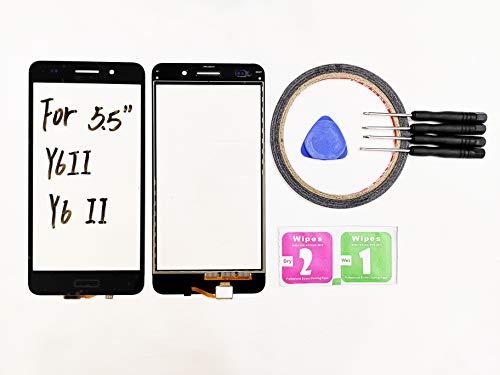 JRLinco Para Huawei Y6 II Y6II Pantalla de Cristal Táctil, Touch Screen Digitizer Outer Glass Replacement (Sin LCD Display) para 5.5'' Y6 II Negro + Herramientas y Adhesivo de Doble Cara