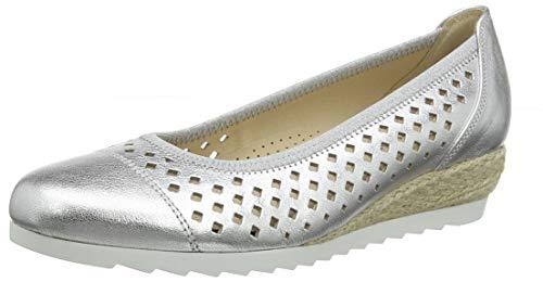 Gabor Shoes Damen Comfort Sport Geschlossene Ballerinas, Mehrfarbig (Silber (Jute) 81), 41 EU