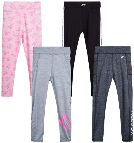 Reebok Girls' Leggings Multipack - 4 Pack Performance Stretch Pants Kids Clothing Bundle, Size 12, Black/Grey/Peach