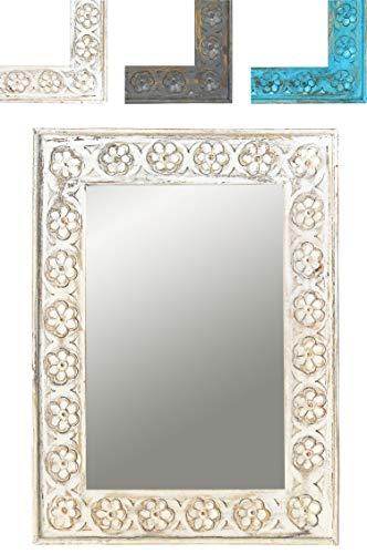 Orient Spiegel Wandspiegel Ishtar 44cm groß Weiss | Großer Marokkanischer Flurspiegel | Holzrahmen orientalisch geschnitzt | Orientalischer Vintage Badspiegel ohne Beleuchtung als Orientalische Deko