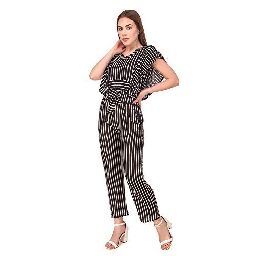 Neysa Women's Hosiery Lycra Maxi Regular Sleeveless Striped Jumpsuit ( Black , Medium )