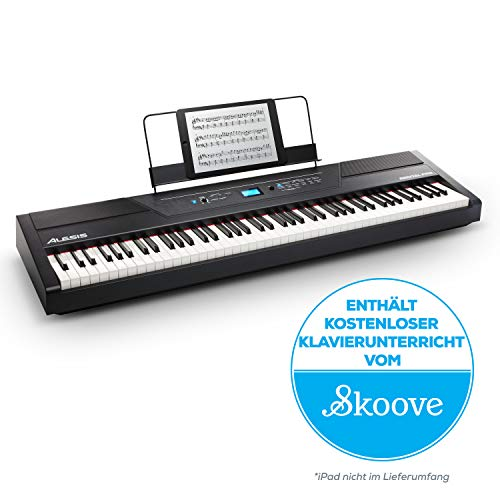 Alesis Recital Pro - Digital Piano / E Klavier mit 88 Hammer-Action-Tasten, 12 Premium-Voices, zwei integrierten 20 Watt Lautsprechern, Kopfhörerausgang und 3-Monatsabo für Skoove Onlineunterricht
