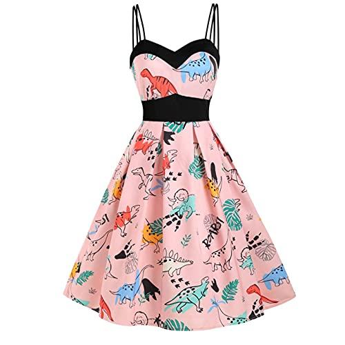 N\C - Vestido de verano para mujer, sin mangas, estampado dinosaurio grande, con dobladillo, color liso