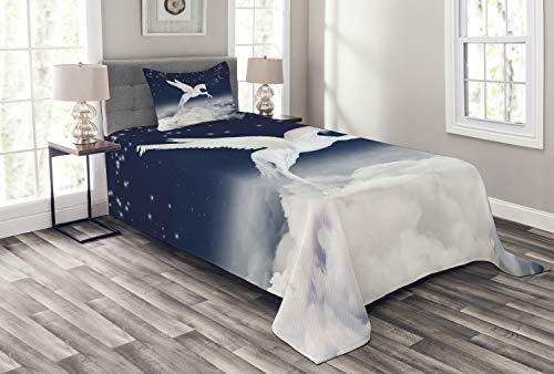 ABAKUHAUS Fantasie Tagesdecke Set, Einhorn Magisches Tier, Set mit Kissenbezug Moderne Designs, für Einzelbetten 170 x 220 cm, Weiß Blau