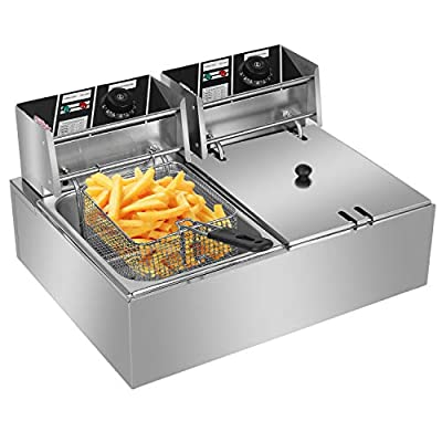 Amazon - Save 80%: Teeker Stainless Steel Double Cylinder Electric Fryer 5000W MAX 110V…