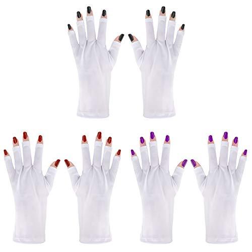 Gants pour Ongles Gants de Protection UV Gants Sans Doigts Mitaines pour Séchage du Vernis à Ongles Gel Manucure 3 Paires