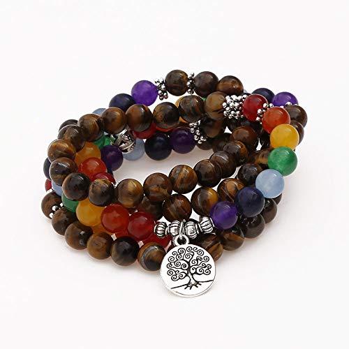 Natuurlijke stenen armband, natuursteen kralen armband 108 mode yoga energie kralen armband 8 mm tijger oog trui ketting leven boom hanger elastische kraal armband sieraden gepersonaliseerde kleding Accessori