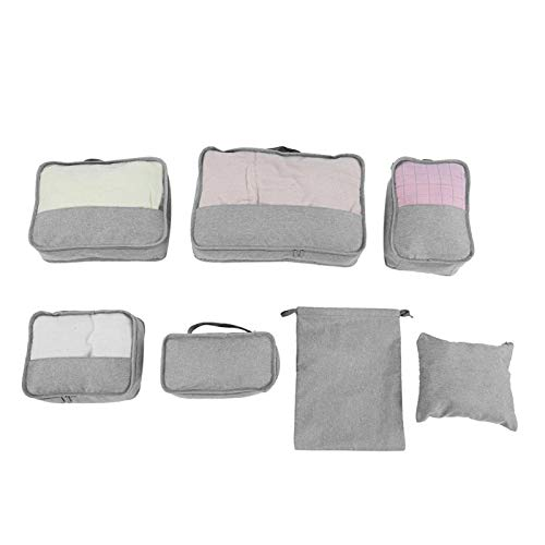 Large Capacity Two-Way Zippers Oxford Cloth Sturdy Compression Storage Cubes Set Durable for Travel(Gray)
