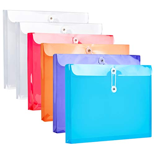 """FANWU Plastic Letter Size Envelopes with Button & String Tie Closure, 1-1/6"""" Expansion, Side Load, Clear Poly Reusable File Folders Project Paper Documents Organizer for Office School Home"""