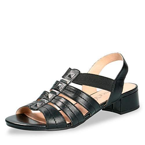 CAPRICE 28204-22 Damen Elegante Sandalette aus Glattleder 35-mm-Absatz Weite G, Groesse 37, schwarz