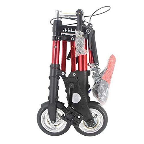 MEICHEN Bike Unisex 8-Zoll-Rad Mini Ultra Light Faltrad U-Bahn-Transit Fahrzeuge Straßen-Fahrrad Outdoor Sports,Rot