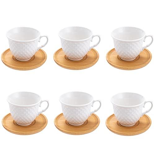 SOPRETY Kaffeetassen 6er Set Porzellan Espressotassen mit Bambus Untersetzer, (6 Tassen/6 Untertassen) Espresso Mocca Türkische Kaffeetassen 80ml Kaffeeservice Teeservice Set, weiß
