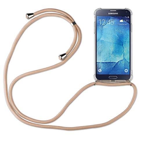 betterfon | Samsung Galaxy S5 Handykette Smartphone Halskette Hülle mit Band - Schnur mit Case zum umhängen Handyhülle mit Kordel zum Umhängen für Samsung Galaxy S5 SM-G900 Beige/Braun