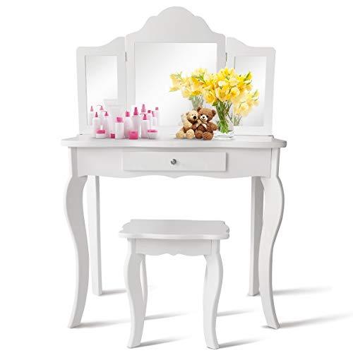 COSTWAY Kinder Schminktisch mit Hocker und Abnehmbarer Spiegel, Mädchen Frisiertisch Holz, Kindertisch mit Schublade, Spiegeltisch 70x34x103cm (Weiß)