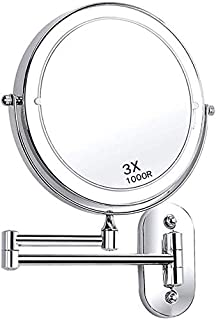 BMJ&C Makeup Mirror 1X/3X/4X/5X Magnification Double Sided Folding LED Bathroom Mirror Retractable 360°Swivel Illuminated Vanity Mirror (Size : 8 inch/3×)