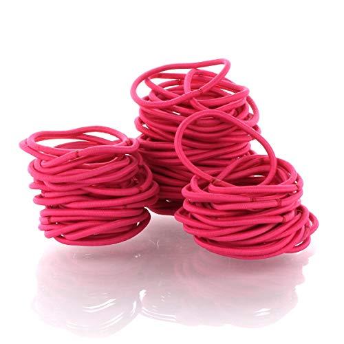 My Lello Hair Elastics Hair Ties, Professional Grade Ponytail Holders - 100 Pack Shocking Pink