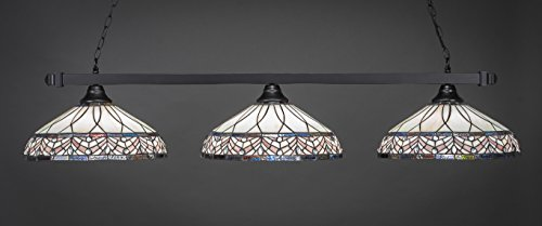 Toltec Lighting 803-MB-948 Square - Three Light Billiard with Glass Options, Matte Black Finish