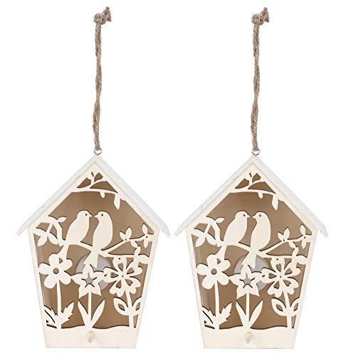 SOONHUA 2 piezas hueco de la casa del pájaro con luz cálida jaula de madera arte arte adorno interior al aire libre