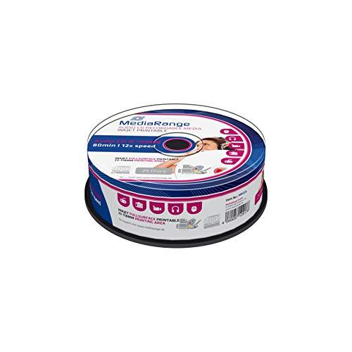 MediaRange Audio CD-R - Reproductor de CD (700 Mb/80 min, Velocidad de 12 x, Impresora de inyección de Tinta, Impresora de Superficie Completa, Cake 25)