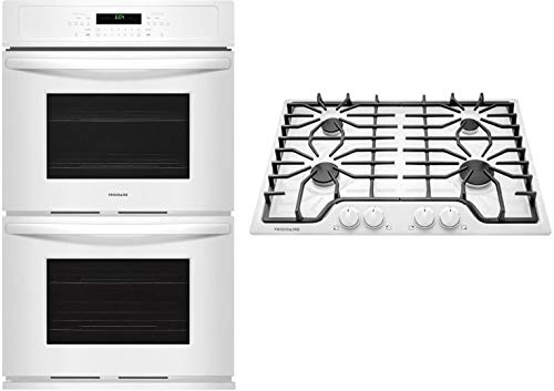 Frigidaire 2 Piece Kitchen Appliances Package with FFET2726TW 27' Electric Double Wall Oven and FFGC3026SW 30' Gas Cooktop
