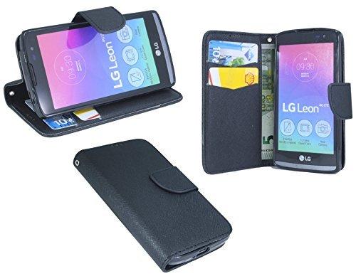 ENERGMiX Elegante Buch-Tasche kompatibel mit LG Leon 4G in Schwarz Leder Optik Wallet Book-Style