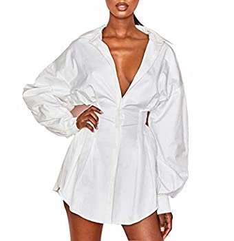 Fashion Sexy Women s Long Sleeve Collar Button Down Short Shirt Dress Casual Work Slim-Fit Tunic Tops Blouse  White Small