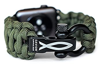 Savior Survival Gear Paracord Watch Band Compatible with Apple 42mm and 44mm Apple Watch - Paracord Watch Band with Stainless Steel Adjustable Shackle  550 Paracord Green Large