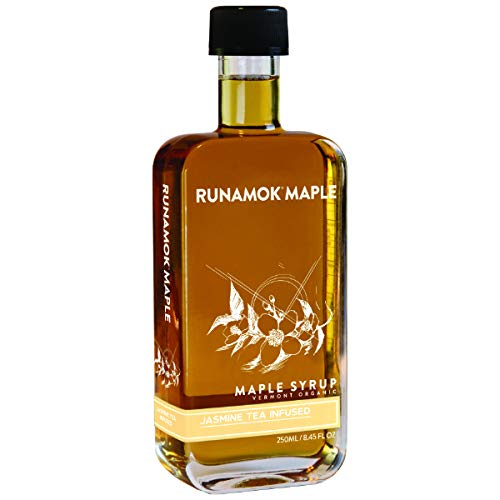 Runamok Maple Jasmine Infused Maple Syrup  Authentic amp Real Vermont Maple Syrup | Gluten Free amp Natural Sweetener | Great for Oatmeal Granola Pancakes amp Tea | 845 Fl Oz 250mL
