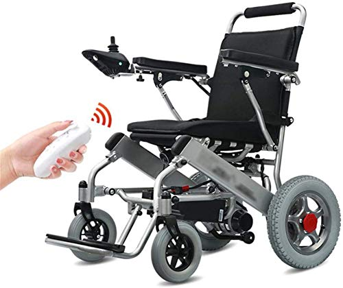 Silla de Ruedas eléctrica Plegable, Silla de ruedas ligera eléctrica plegable con mando a distancia, herramienta de movilidad cómodo automática mayores con el manual de la potencia de aleación de alum